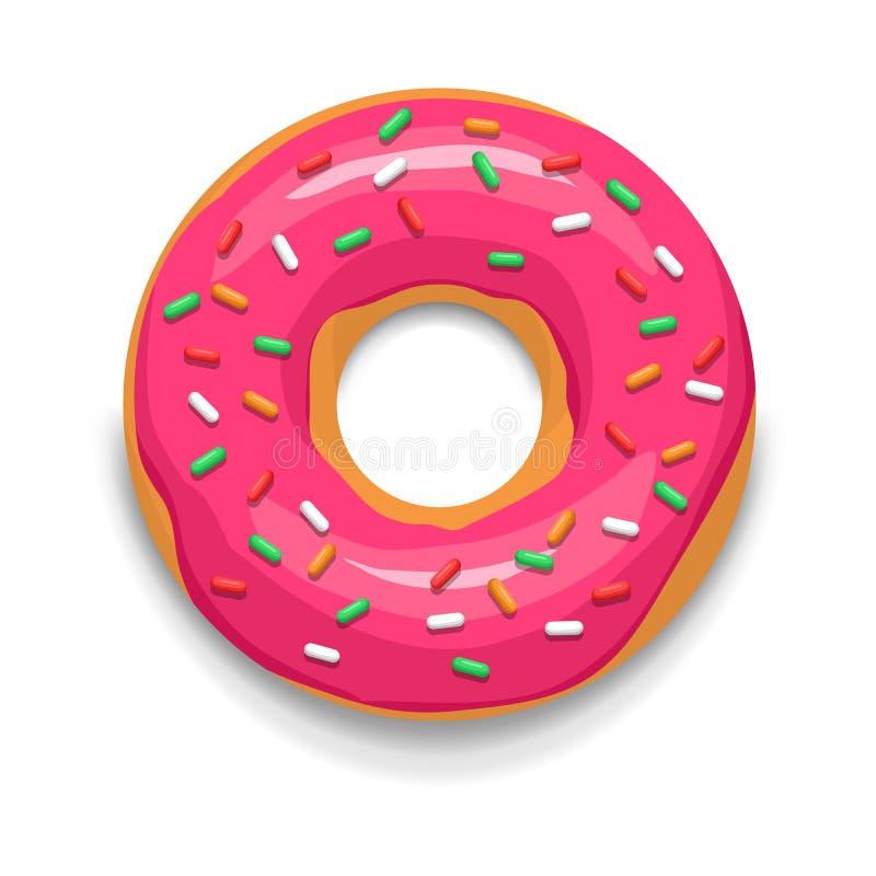 Ikone des glasig-glänzenden Donuts des Rosas, Karikaturart vektor abbildung
