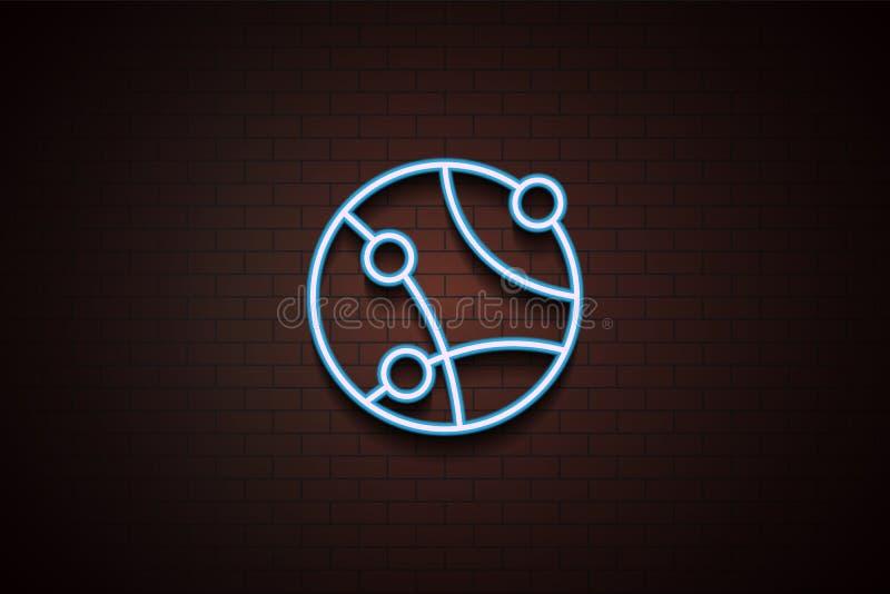 Ikone des globalen Netzwerks in der Neonart stock abbildung