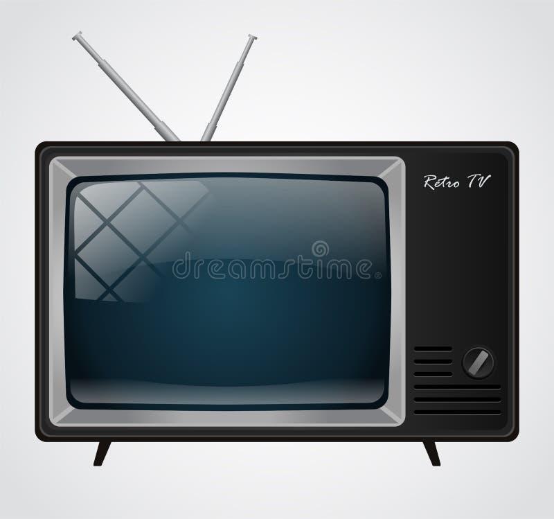 Ikone des guten alten Retro- Fernsehens ohne Fernbedienung vektor abbildung