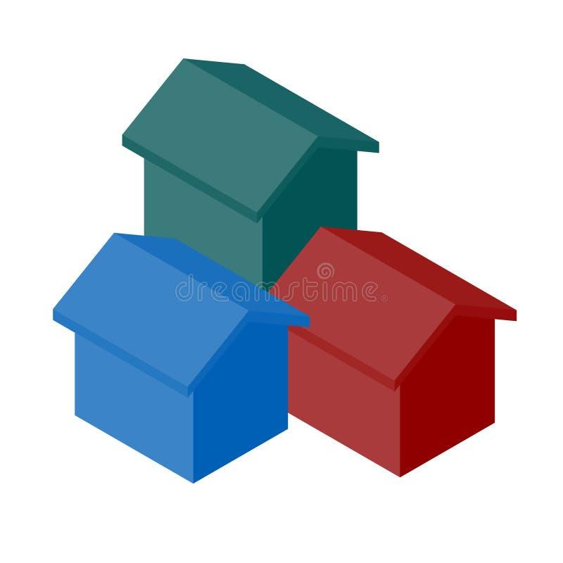 Ikone des Hauses 3D lizenzfreie abbildung