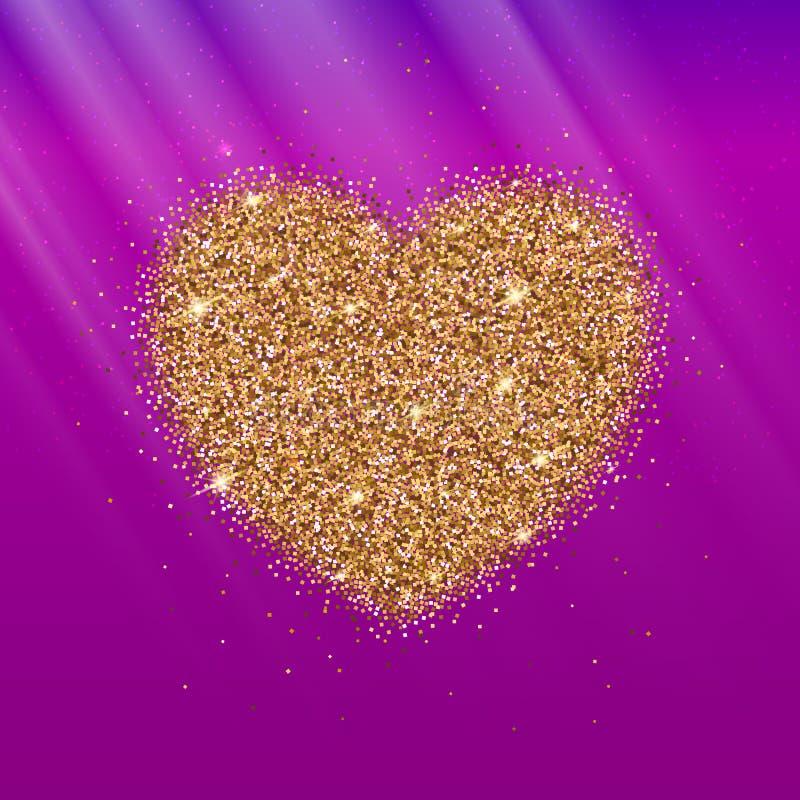 Ikone des Herzens mit Goldscheinen und -funkeln lizenzfreie abbildung