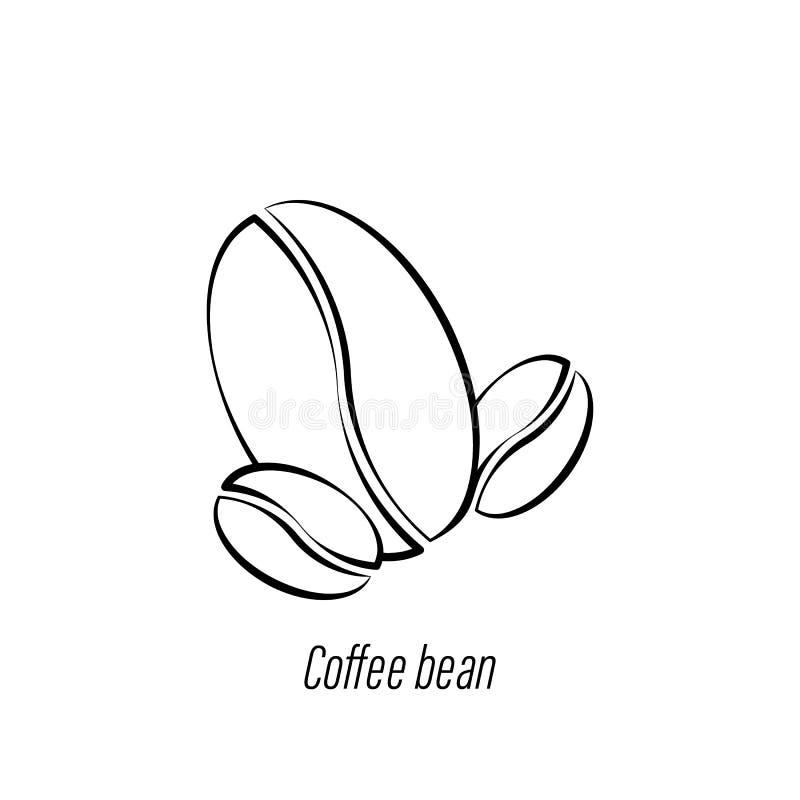 Ikone des Kaffeebohne-Handabgehobenen betrages Element der Kaffeeillustrationsikone Zeichen und Symbole k?nnen f?r Netz, Logo, mo lizenzfreie abbildung