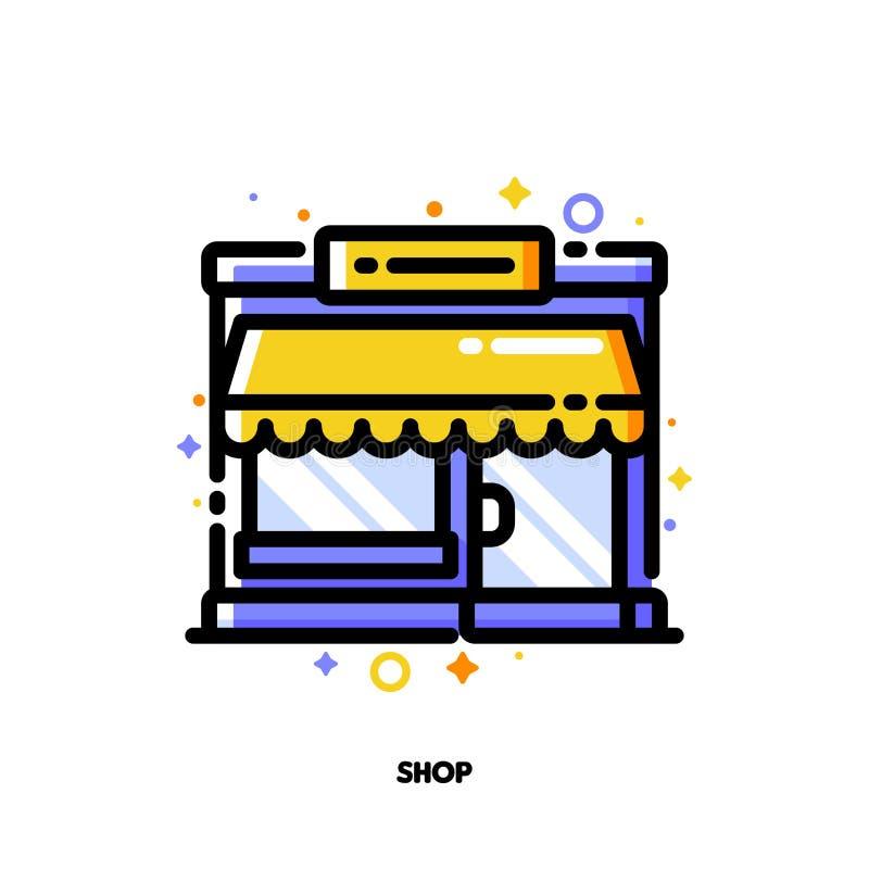 Ikone des kleinen Bürogebäudes oder der Boutique mit Schaukasten für den Einkauf und Kleinkonzept Ebene gef?llte Entwurfsart Pixe stock abbildung