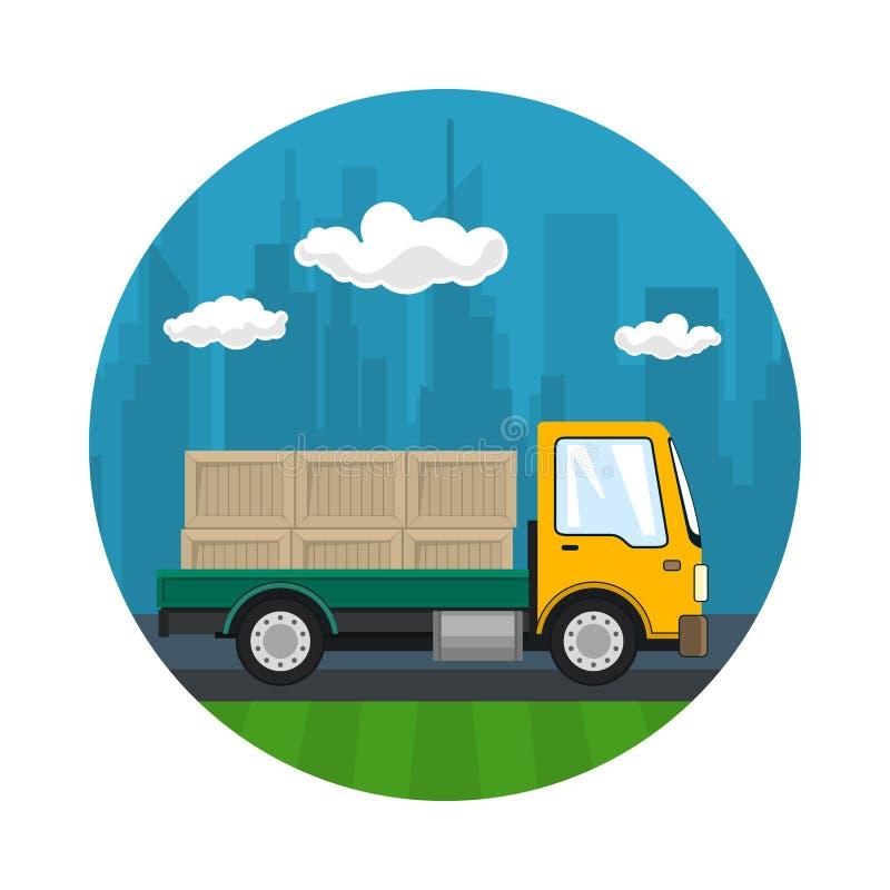 Ikone des kleinen Fracht-LKWs mit Kästen stock abbildung