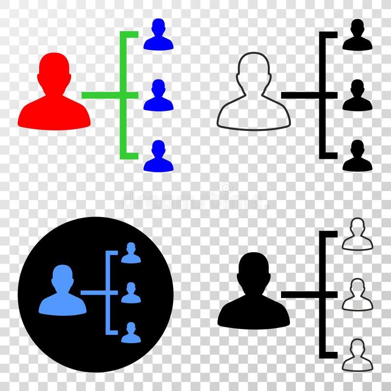 Ikone des Leute-Hierarchie-Vektor-ENV mit Konturn-Version stock abbildung