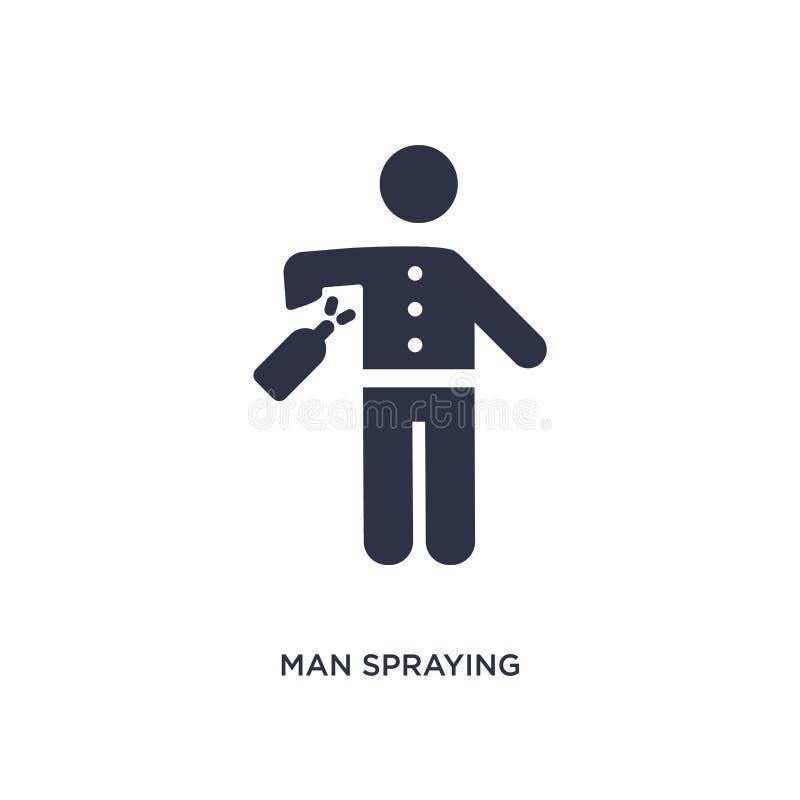 Ikone des Mannsprühdesodorierenden mittels auf weißem Hintergrund Einfache Elementillustration vom Verhaltenkonzept lizenzfreie abbildung