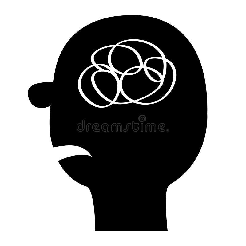Ikone des menschlichen Gesichtes Schwarzes Schattenbild Linie des Gekritzelloseen fadens im Kopf innerhalb des Gehirns Konzept de vektor abbildung