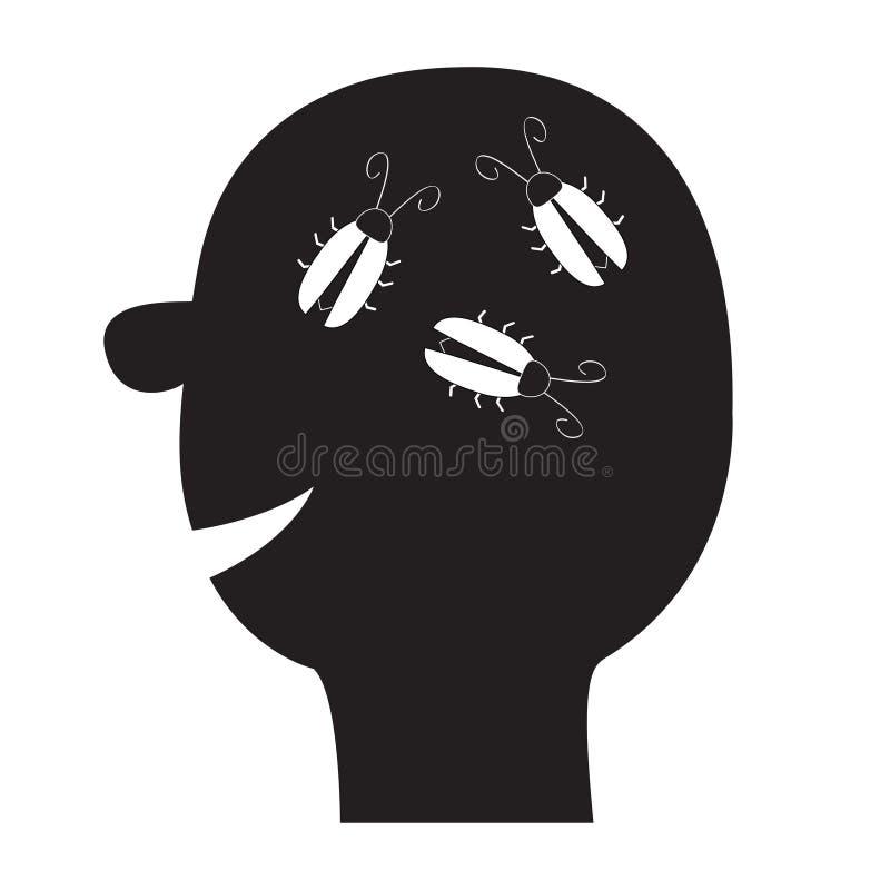 Ikone des menschlichen Gesichtes Schwarzes Schattenbild Schabenwanzen im Kopf innerhalb des Gehirns Denkender Prozess Flaches Des stock abbildung