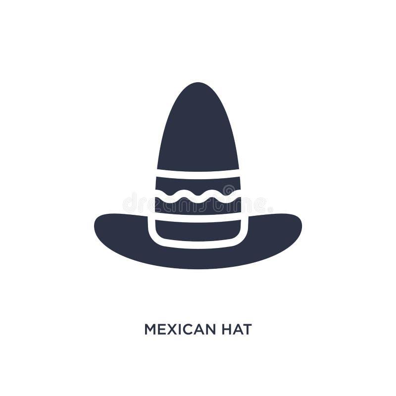 Ikone des mexikanischen Hutes auf weißem Hintergrund Einfache Elementillustration vom Wüstenkonzept vektor abbildung