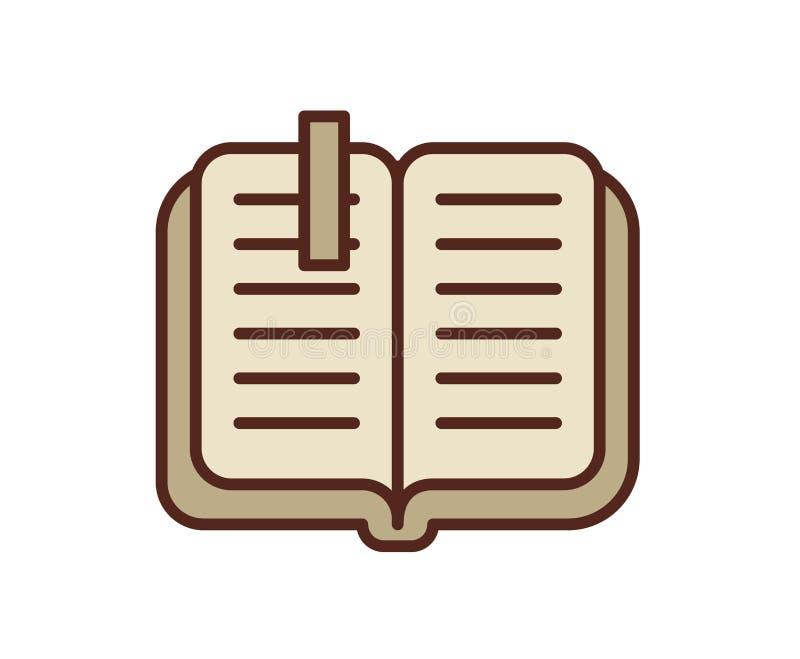 Ikone des offenen Buches, Notizbuch Linie farbige Vektorillustration Getrennt auf weißem Hintergrund stock abbildung