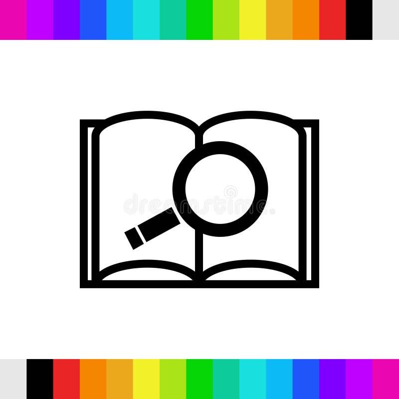 Ikone des offenen Buches und der Suche auf Lager flaches Design der Vektorillustration lizenzfreies stockfoto