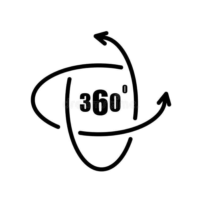 Ikone des Panoramas 360 lokalisiert auf weißem Hintergrund lizenzfreie abbildung
