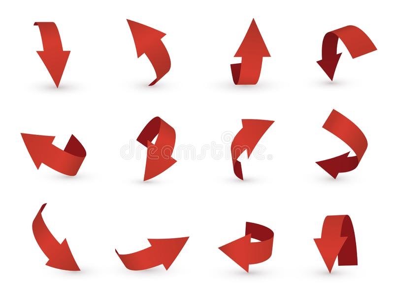 Ikone des Pfeiles 3d, roter Zeiger und Richtung vektor abbildung