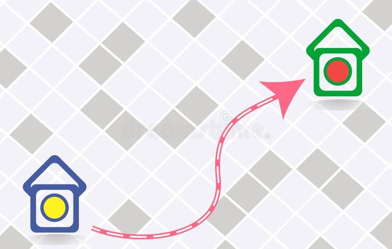 Ikone des Weges zwischen zwei Punkten lizenzfreies stockfoto