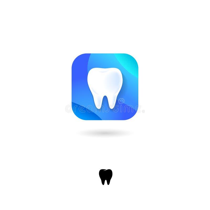 Ikone des Zahnes UI Zahnarzt, Stomatologieemblem Zahn, Zahnheilkundepiktogramm Gerundetes quadratisches Symbol mit Schatten vektor abbildung
