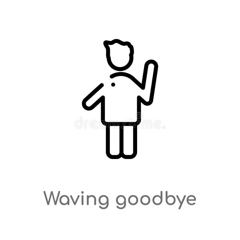 Ikone des zum Abschied winkenden Vektors des Entwurfs lokalisiertes schwarzes einfaches Linienelementillustration vom Leutekonzep stock abbildung