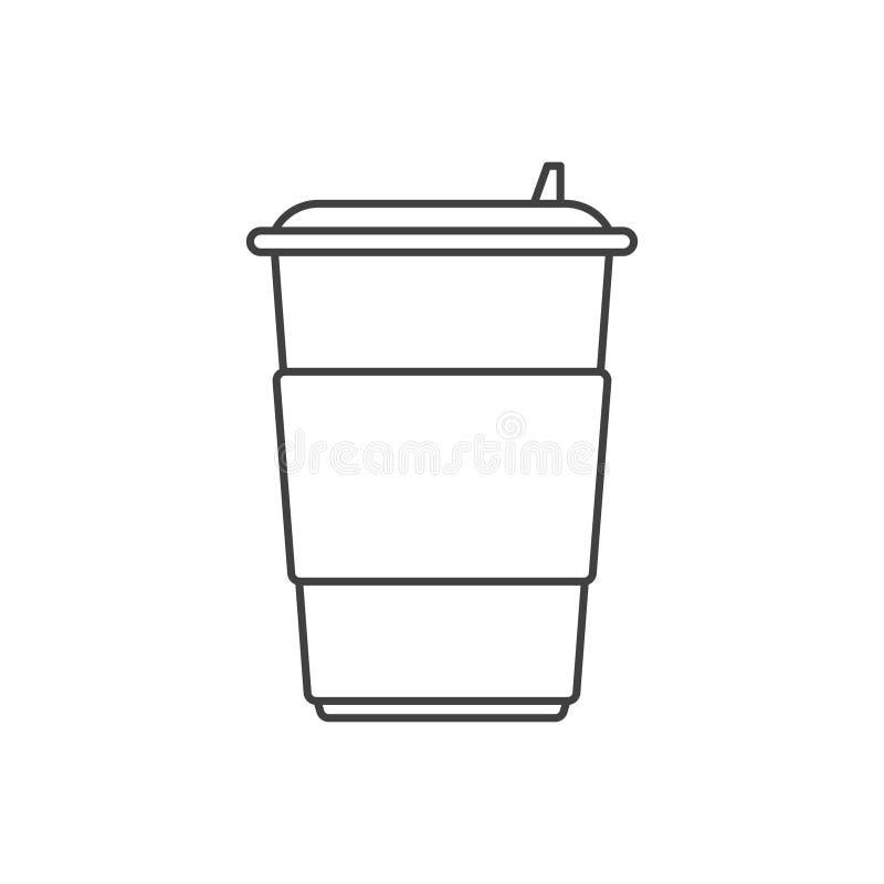 Ikone einer Papierschale für Kaffee mit einem Plastikdeckel und ein Platz unter irgendeiner Aufschrift Vektorabbildung auf weißem stock abbildung