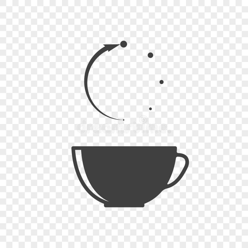 Ikone einer Tasse Tee mit der abstrakten Bedeutung der beweglichen Zeit über einem Becher Vektor auf einem transparenten Hintergr lizenzfreie abbildung