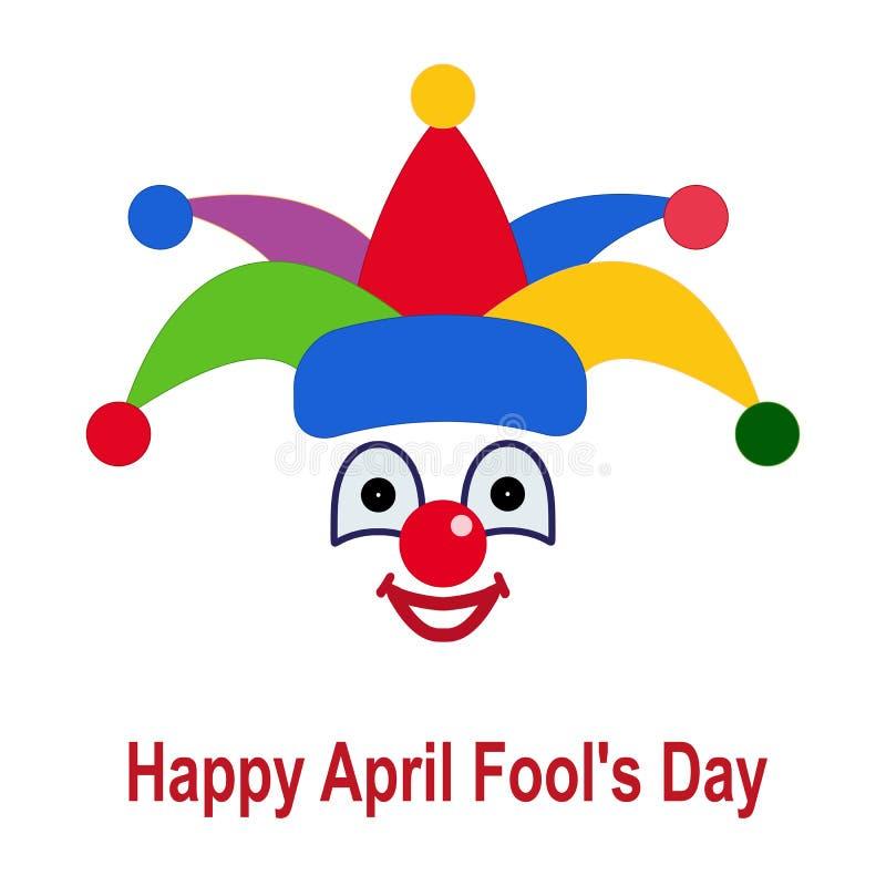 Ikone eines Clowns in einem bunten Hut lizenzfreie abbildung