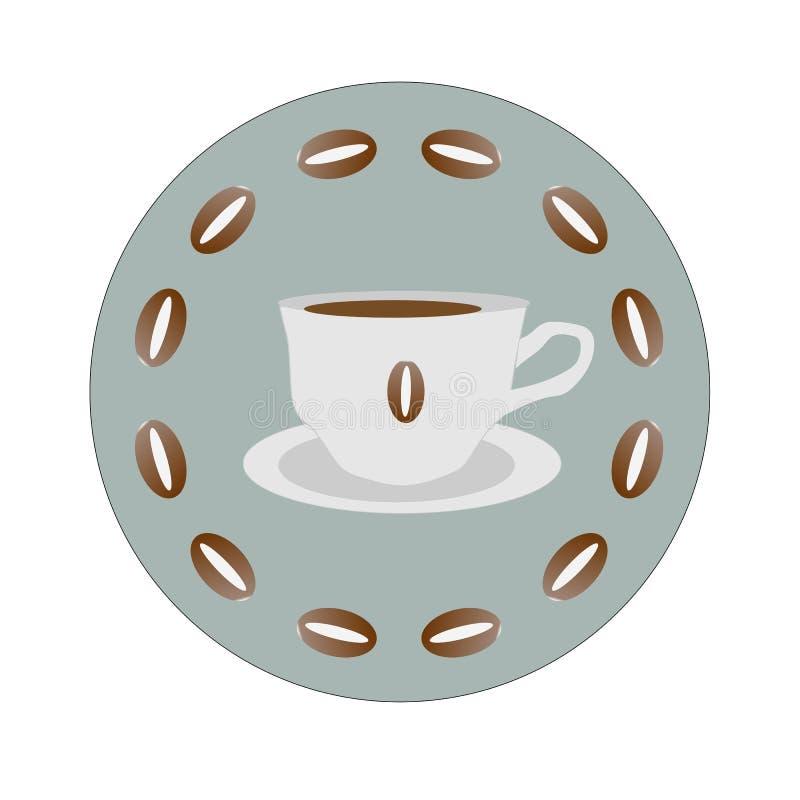 Ikone eines heißen Tasse Kaffees in einem Kreis von Kaffeebohnen lizenzfreie abbildung