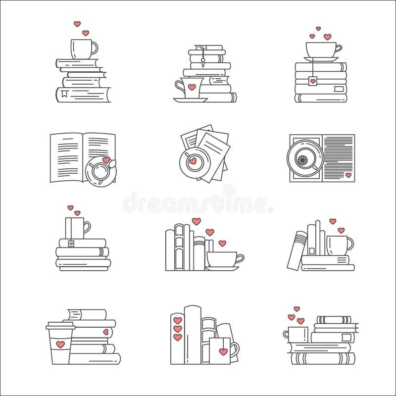 Ikone eingestellt für Buchfans stock abbildung