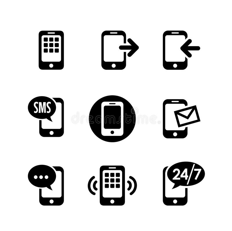 Ikone 9 eingestellt - Kommunikation stock abbildung