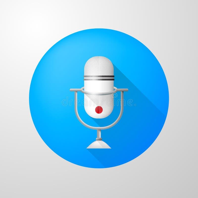 Ikone für Blog Weißes vertikales Mikrofon vektor abbildung