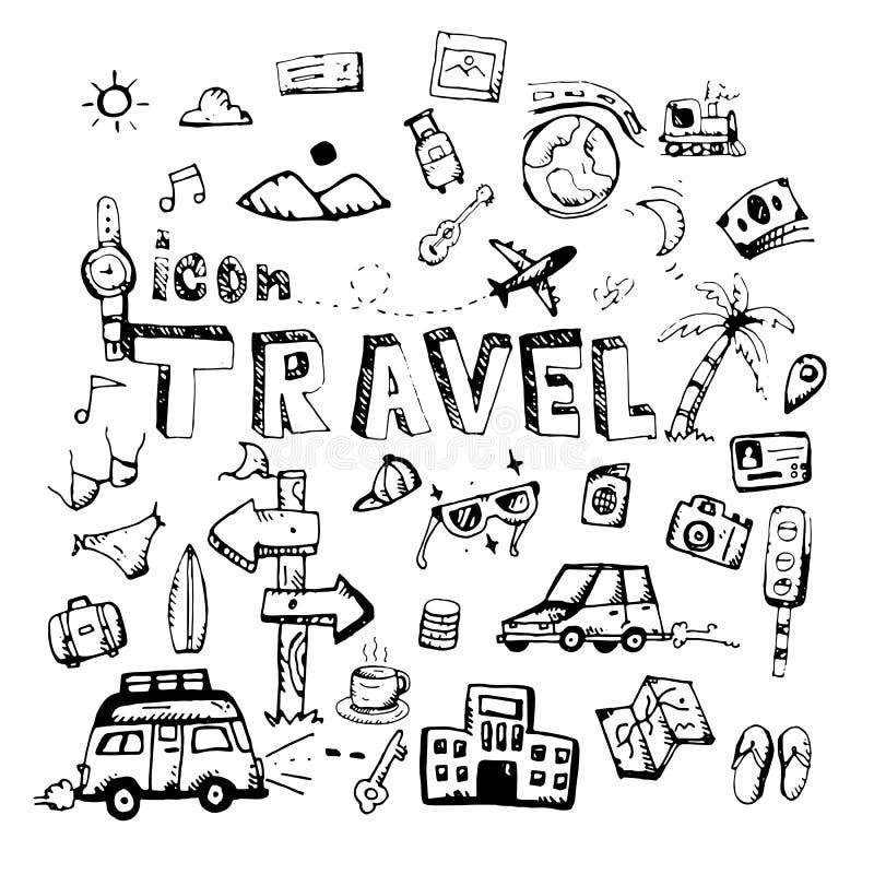 ikone Hand gezeichnet themenorientiertes Gekritzel der Reise Flache Illustration des Vektors Auf weißem Hintergrund vektor abbildung