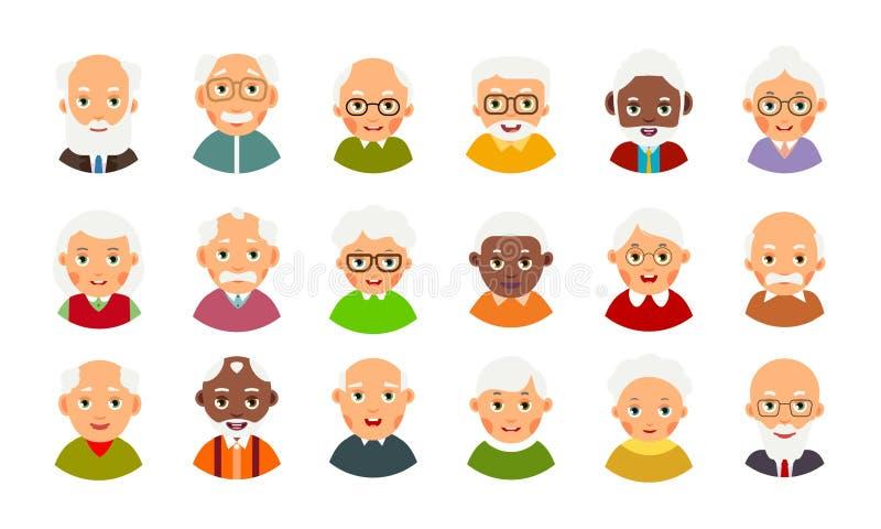 Ikone mit älteren Leuten des Avataras für Konzeptentwurf Ältere Männer und Frauen der gesetzten Avataras Auswahlkarikaturillustra stock abbildung
