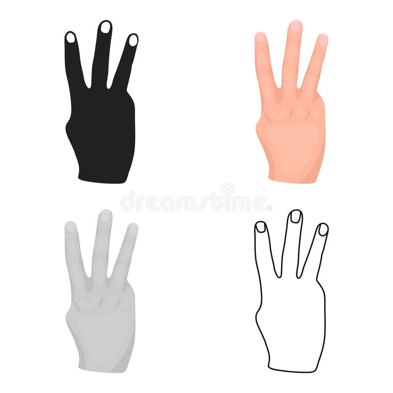 Ikone mit drei Fingern in der Karikaturart lokalisiert auf weißem Hintergrund Handzeichensymbolvorrat-Vektorillustration stock abbildung