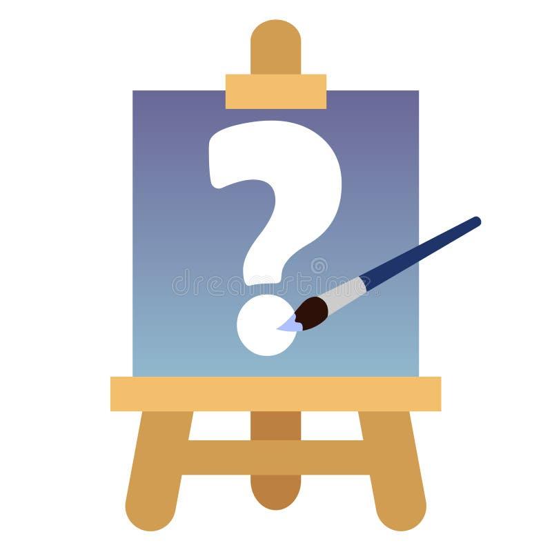 Ikone mit hölzernem Gestell, weißem Fragezeichen des Segeltuches und blauer Bürste vektor abbildung