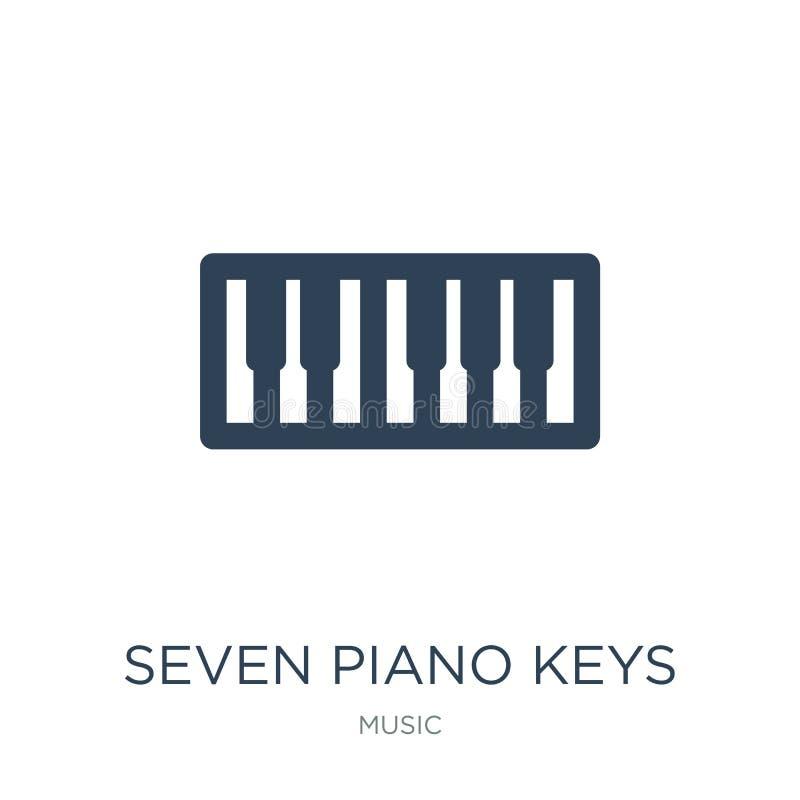 Ikone mit sieben Klavierschlüsseln in der modischen Entwurfsart Ikone mit sieben Klavierschlüsseln lokalisiert auf weißem Hinterg lizenzfreie abbildung