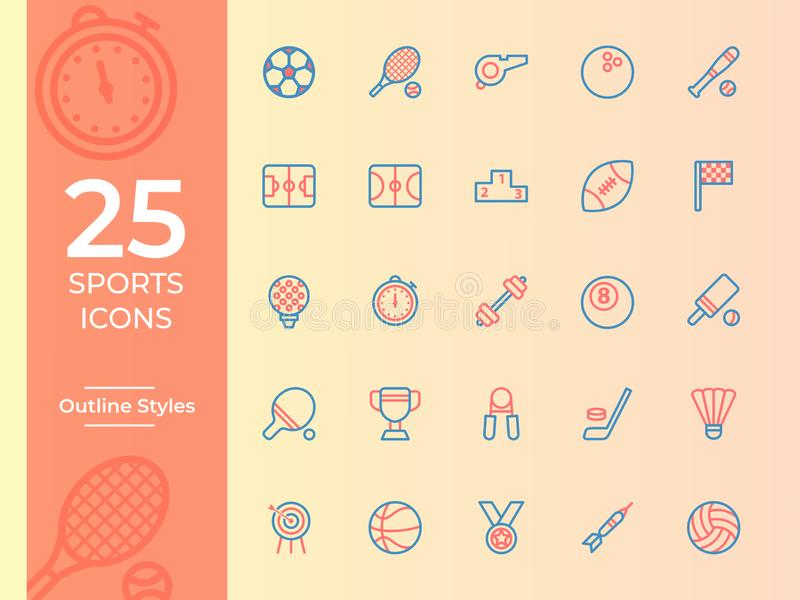 Ikone mit 25 Sport, Sportsymbol Entwurfsvektorikonen stock abbildung