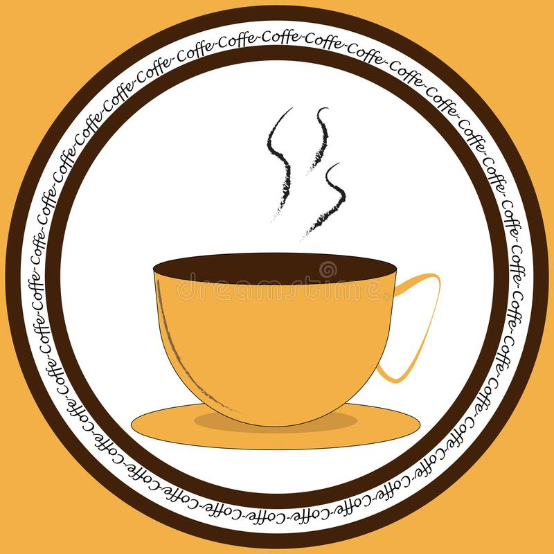 Ikone mit Tasse Kaffee lizenzfreie abbildung