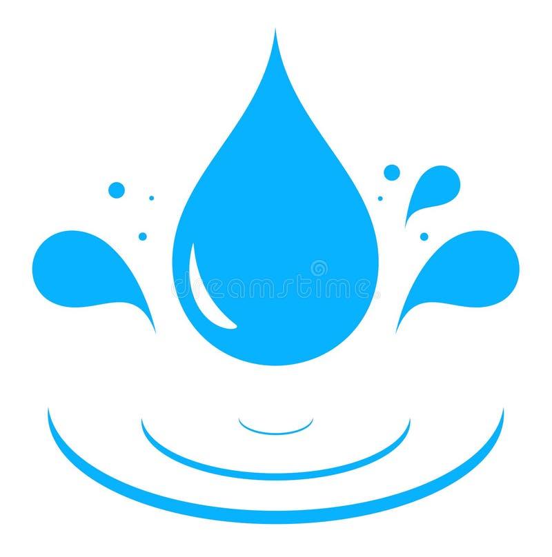 Ikone mit Tropfen des blauen Wassers vektor abbildung