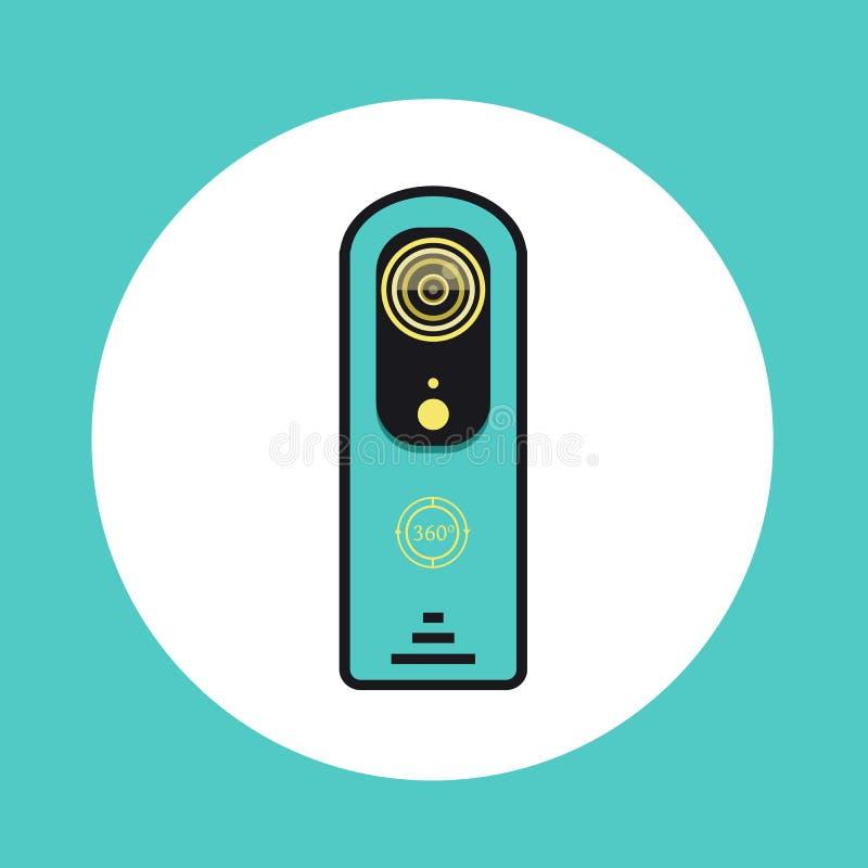 Ikone mit 360 Videokameras in der flachen Linie Design stock abbildung