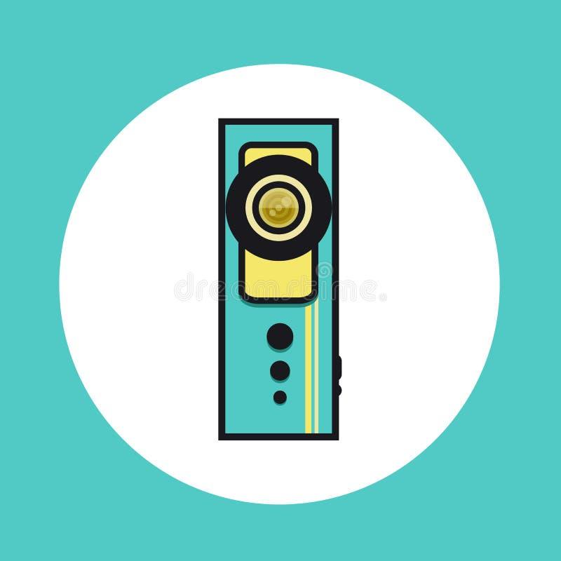 Ikone mit 360 Videokameras in der flachen Linie Design stockbild