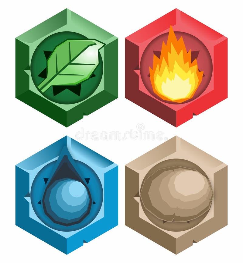 Ikone mit vier Naturelementen stock abbildung
