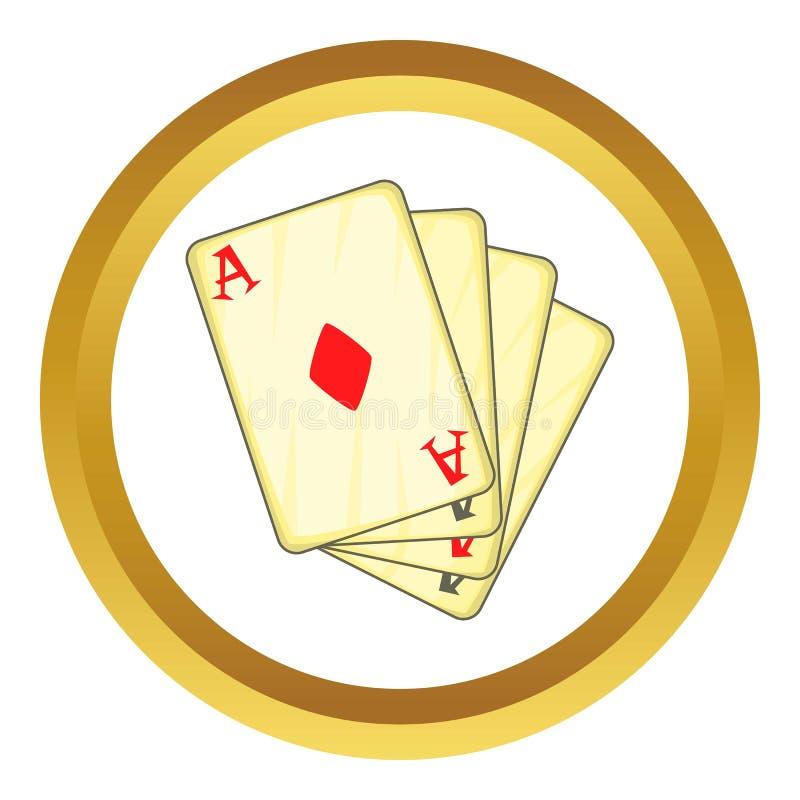 Ikone mit vier Spielkarten der Asse vektor abbildung