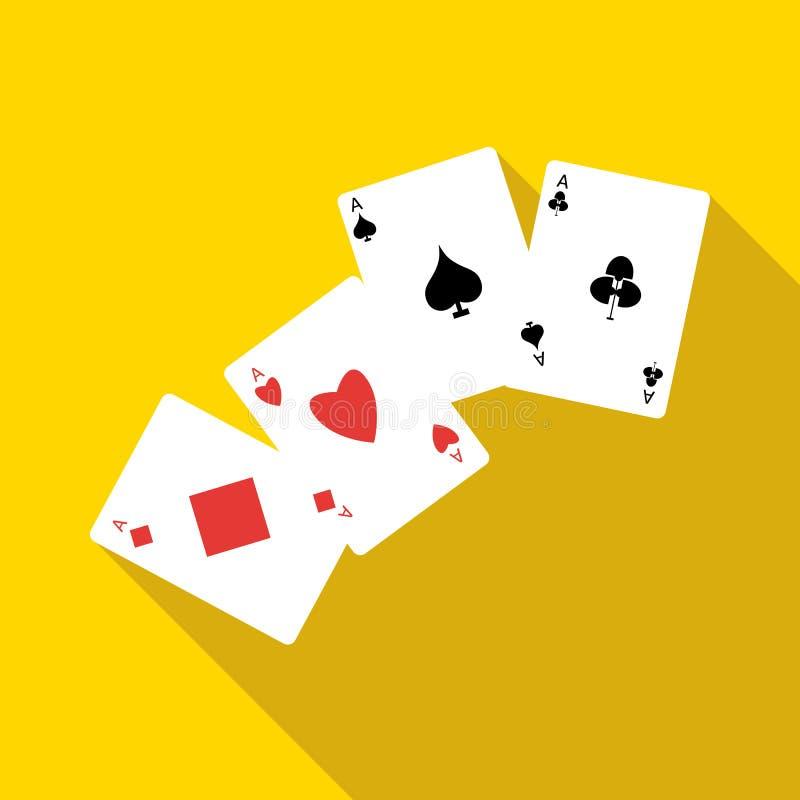 Ikone mit vier Spielkarten der Asse, flache Art vektor abbildung