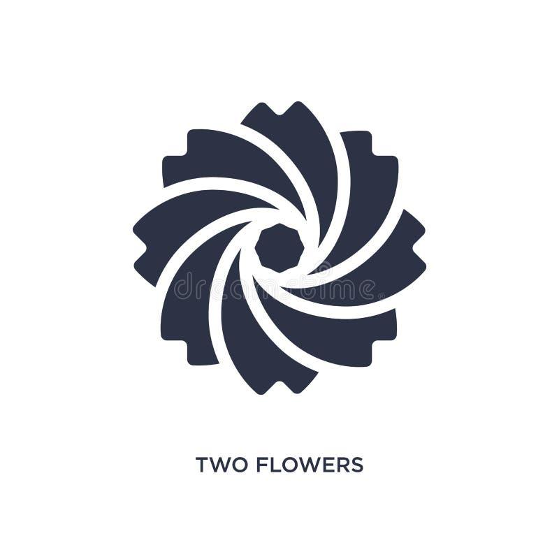 Ikone mit zwei Blumen auf weißem Hintergrund Einfache Elementillustration vom Ökologiekonzept lizenzfreie abbildung