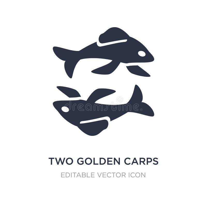 Ikone mit zwei goldene Karpfen auf weißem Hintergrund Einfache Elementillustration vom Tierkonzept lizenzfreie abbildung