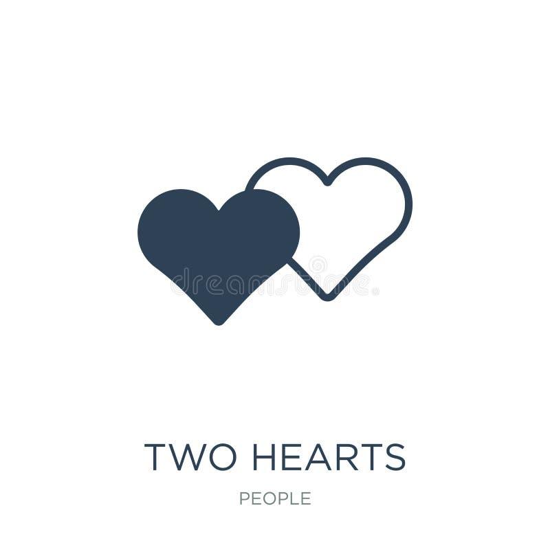 Ikone mit zwei Herzen in der modischen Entwurfsart Ikone mit zwei Herzen lokalisiert auf weißem Hintergrund Vektorikone mit zwei  stock abbildung