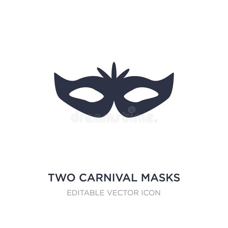 Ikone mit zwei Karnevalsmasken auf weißem Hintergrund Einfache Elementillustration vom Modekonzept vektor abbildung