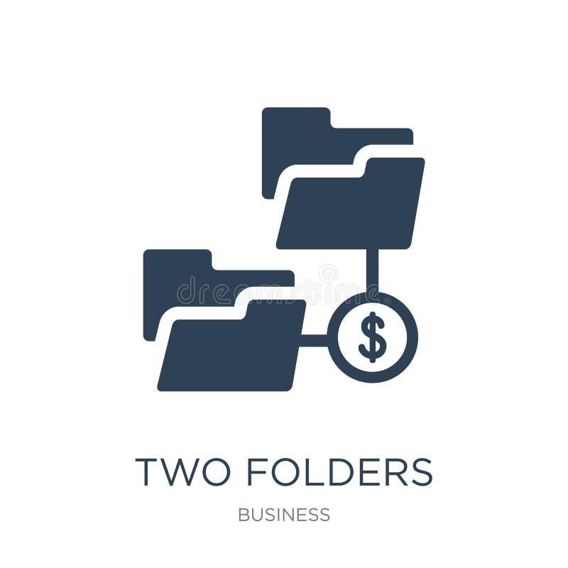 Ikone mit zwei Ordnern in der modischen Entwurfsart Ikone mit zwei Ordnern lokalisiert auf weißem Hintergrund Vektorikone mit zwe stock abbildung