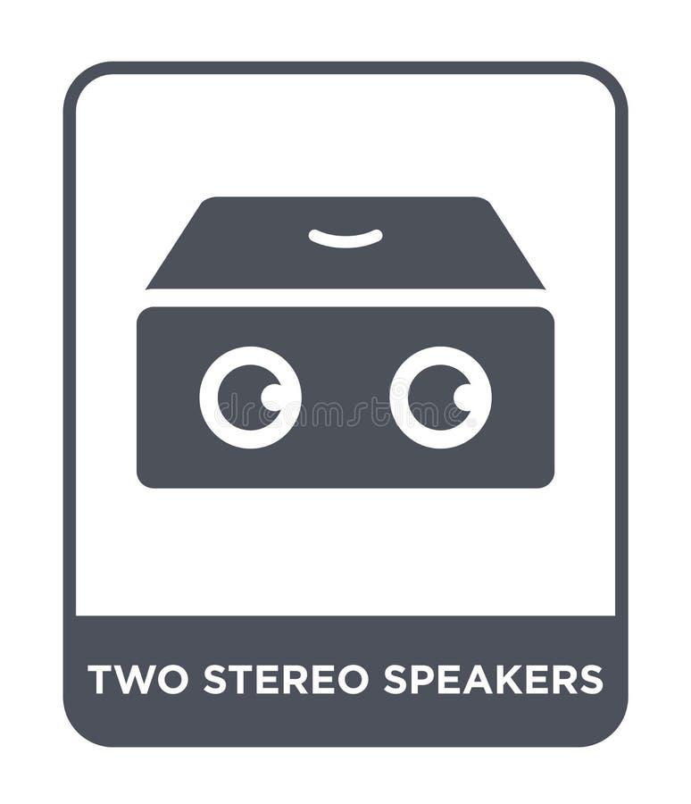 Ikone mit zwei Stereosprechern in der modischen Entwurfsart Ikone mit zwei Stereosprechern lokalisiert auf weißem Hintergrund Vek vektor abbildung
