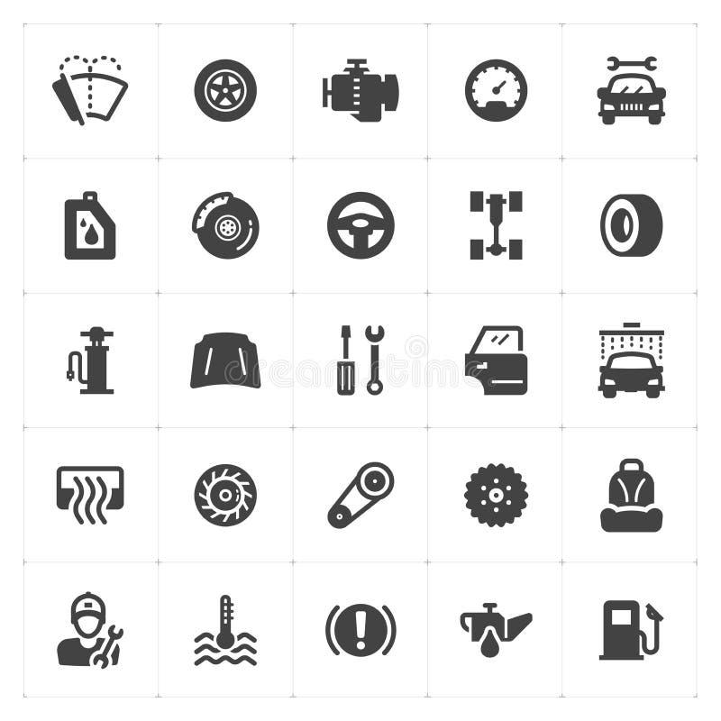 Ikone stellte ein - Garage und Auto füllten Ikone lizenzfreie abbildung