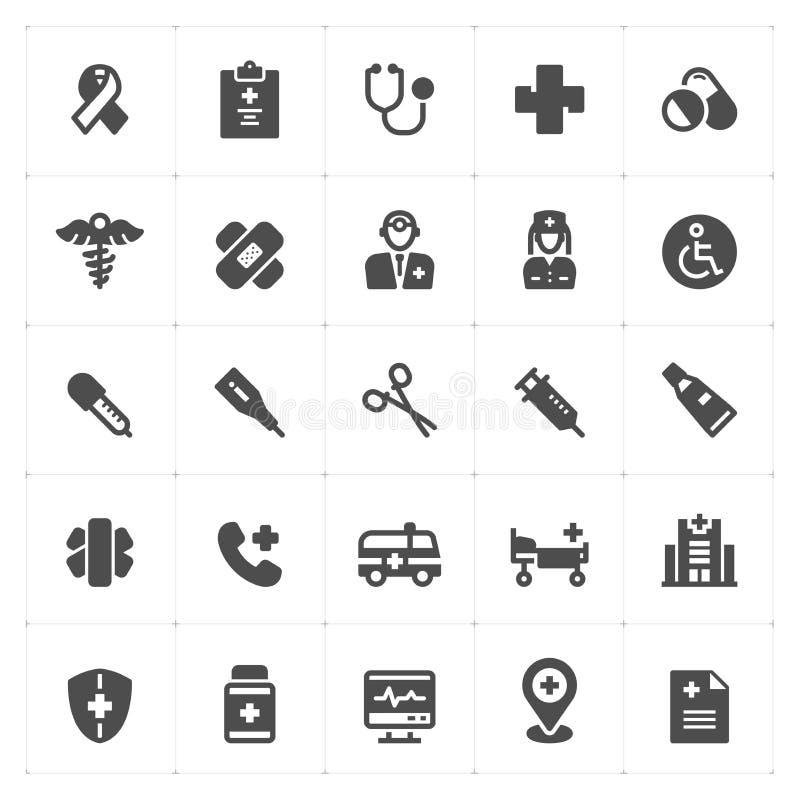 Ikone stellte - Gesundheitswesen und medizinische gefüllte Ikone ein stock abbildung
