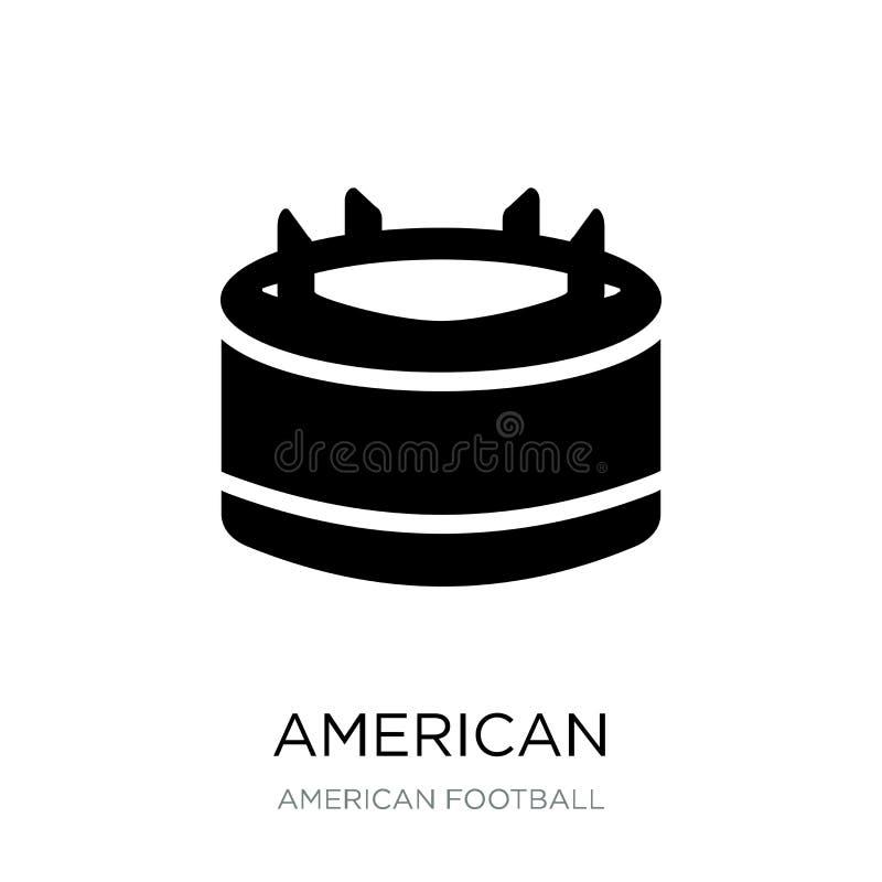Ikone T-Stück des amerikanischen Fußballs in der modischen Entwurfsart Amerikanischer Fußball-T-Stück Ikone lokalisiert auf weiße lizenzfreie abbildung