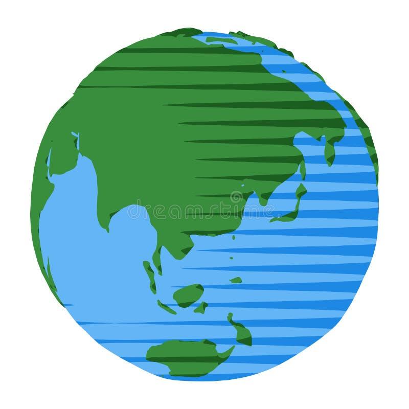 Ikone von Australien und von China auf Planet Erde als abstrakter Vektorillustration stock abbildung